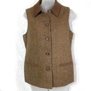 Talbots tweed tan brown vest wool size 6 button up